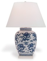 The Well Appointed House Navy Blue and White Dragon Porcelain Lamp with Shade