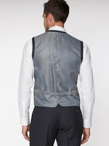 Jeff Banks Tonal Grid Texture Soho Waistcoat In Modern Regular Fit - Charcoal