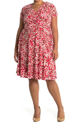 Maggy London Printed Faux Wrap Fit & Flare Dress