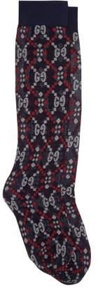 Gucci Gg Logo-jacquard Knee-high Socks - Womens - Blue