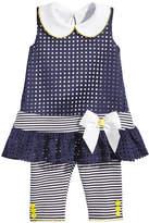 Bonnie Baby 2-Pc. Laser-Cut Tunic & Striped Capri Leggings Set, Baby Girls
