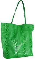 lime green snake printed tall tote
