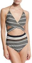 Gottex Regatta Metallic-Stripe Cutout Swimsuit, Black/White
