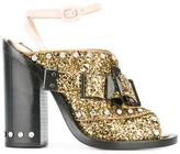 No.21 buckled glitter sandals