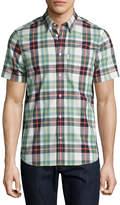 Wesc Nisse Plaid Short-Sleeve Sport Shirt, Granite Green