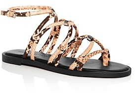 Rebecca Minkoff Women's Sarle Too Snake-Embossed Gladiator Sandals