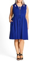 City Chic Plus Size Women's Lace-Up Fit & Flare Dress