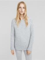 Calvin Klein Collection Cashmere Horizontal Rib Bateau Neck Sweater