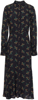 BA&SH Gathered Floral-print Crepe De Chine Midi Shirt Dress