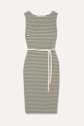 Max Mara Striped Stretch-knit Dress - Army green