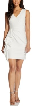 Adrianna Papell V-Neck Ruffled Sheath Dress