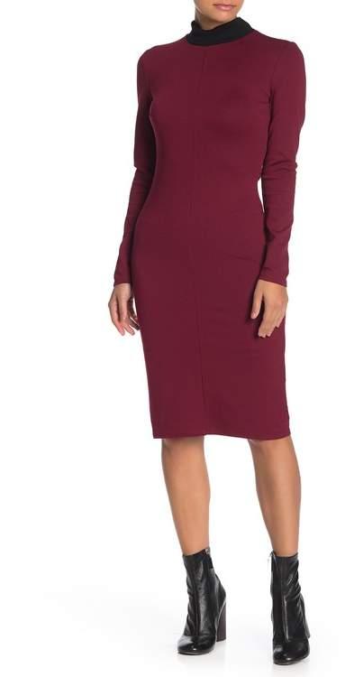 Ash MAX & Contrast Mock Neck Midi Dress