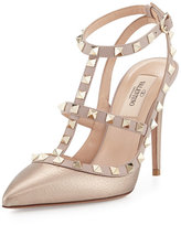 Valentino Rockstud Metallic Leather T-Strap Pump, Skin/Poudre