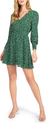 BB Dakota Micro Daisy Print Long Sleeve Bubble Crepe Minidress