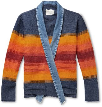 Greg Lauren Boxy Kimono Studio Distressed Denim-Trimmed Striped Wool-Blend Jacket