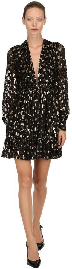 Azzaro Leopard Sheer Chiffon Fil Coupé Dress