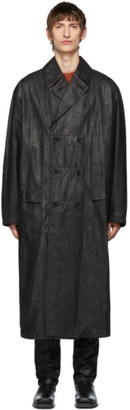 John Lawrence Sullivan Johnlawrencesullivan Black Oiled Cotton Overcoat