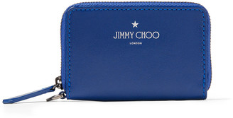 Jimmy Choo DANNY Pop Blue Satin Leather Zip Around Wallet