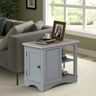 Longshore Tides Lovell Block End Table with Storage Longshore Tides Table Base Color: Light Gray, Table Top Color: Light Gray