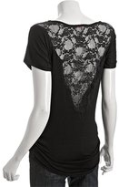 Casual Couture by Green Envelope black jersey lace panel scoopneck top
