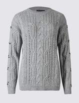 Marks and Spencer Cotton Blend Cable Knit Button Sleeve Jumper
