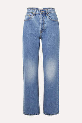 Still Here - Childhood Striped High-rise Straight-leg Jeans - Light denim