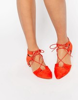Asos LET'S PLAY Pointed Lace-up Ballet Flats