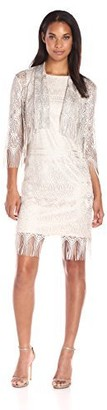Chetta B Women's Two Piece Metallic Fringe Jacket Dress
