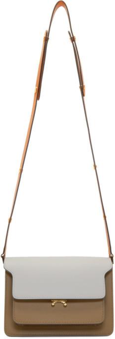 Marni Grey and Brown Medium Trunk Bag
