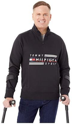 Tommy Hilfiger Adaptive Signature Mockneck Sweatshirt (Jet Black) Men's Clothing