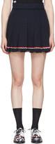Thom Browne Navy Selvedge Tweed Pleated Miniskirt