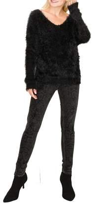 Olivia Pratt Furry Eyelash Knit Twist Back Sweater