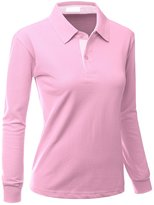 Xpril Womens Casual Basic Sporty Long Sleeve Polo Collar T-shirt Size M
