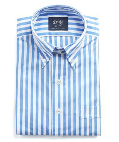Drakes Drake's Button-down Bold Stripe Shirt