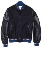 GoldenBear Golden Bear Navy Melton Varsity Jacket