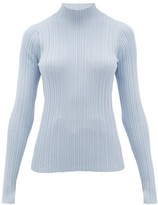 Acne Studios Katina High-neck Ribbed Cotton-blend Sweater - Womens - Light Blue