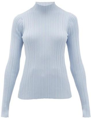 Acne Studios Katina High-neck Ribbed Cotton-blend Sweater - Womens - Light Blue