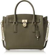 Michael Kors Hamilton Large Olive Green Pebbled Leather Satchel Bag