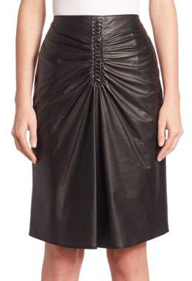 Altuzarra Rourke Ruched Leather Skirt