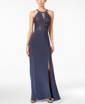 Night Way Nightway Lace Halter Gown
