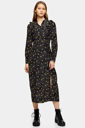 Topshop Womens Black And Mustard Spot Print Ruffle Shirt Dress - Mustard