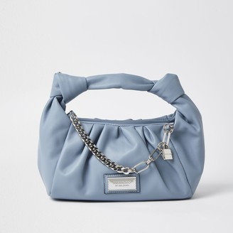 River Island Womens Blue double knot chain ruched bag