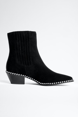 Zadig & Voltaire Tyler Suede Studs Ankle Boots