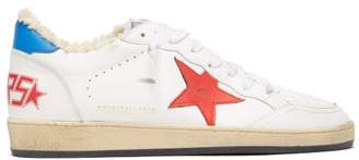 Golden Goose Ballstar Shearling Lined Leather Low Top Trainers - Mens - Red White