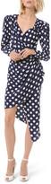 Michael Kors Silk Dot Asymmetric Wrap Dress