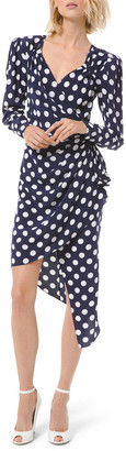 Michael Kors Silk Dot Asymmetric Wrap Dress
