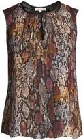Rebecca Taylor Met Python Print Stretch-Silk Sleeveless Top