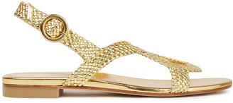 Stuart Weitzman Teodora Braided Metallic Leather Sandals