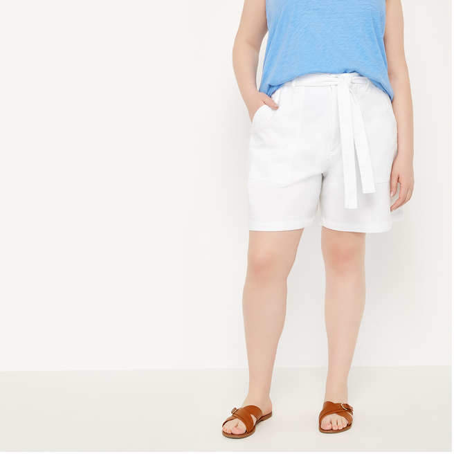 Joe Fresh Women+ Tie Waist Canvas Short, White (Size 22)