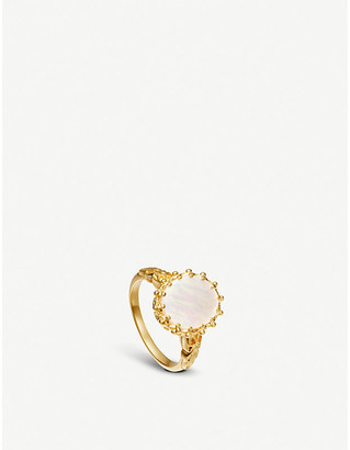 Astley Clarke Floris large 18-carat yellow gold vermeil and Mother of Pearl ring